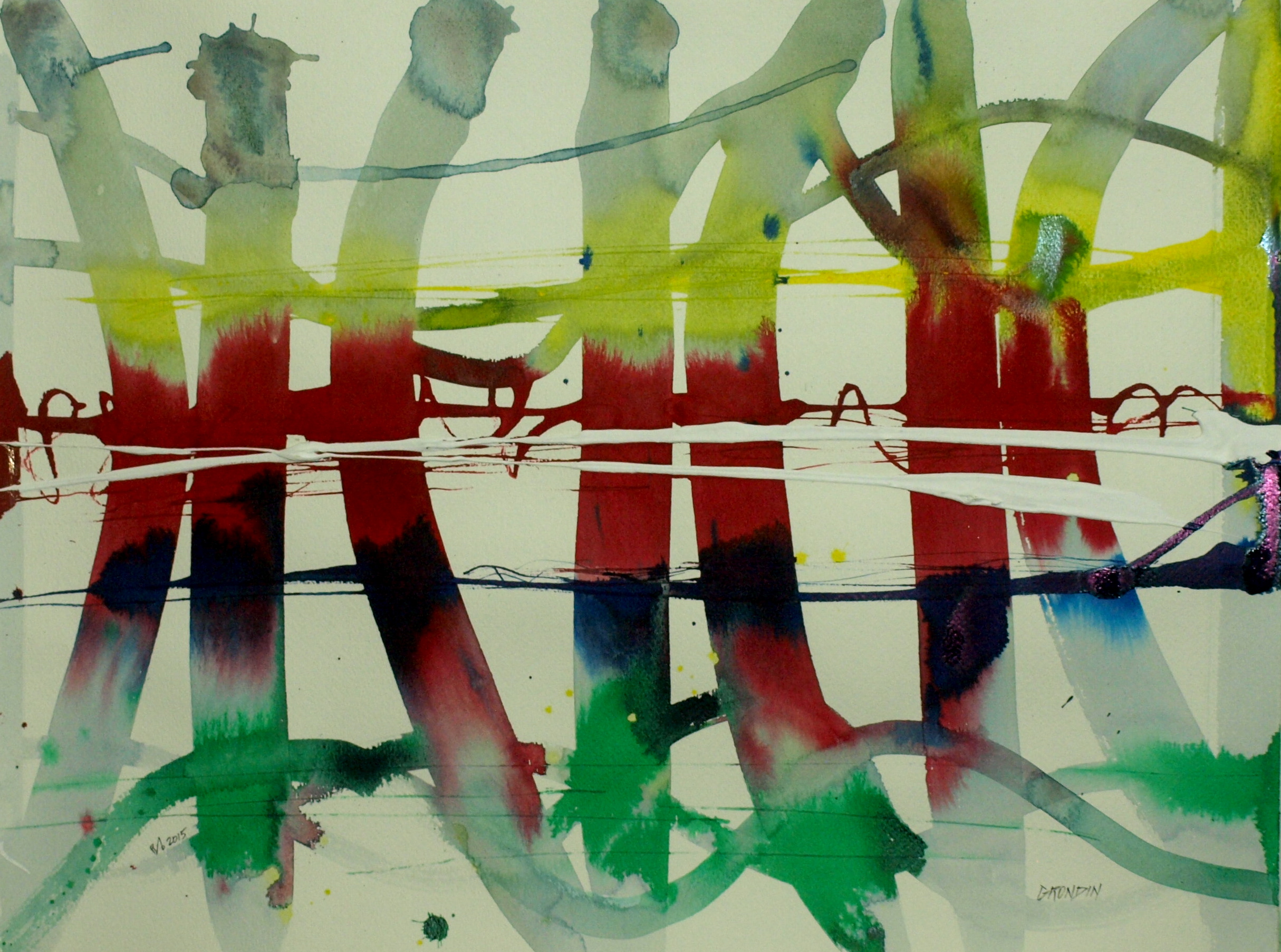 Bamboo Pattern #2 18x24in on watercolour Paper $700 framed $400 not framed